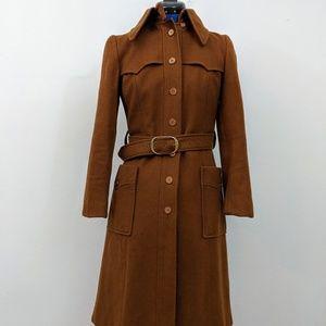 Vintage 1970s long brown coat with belt